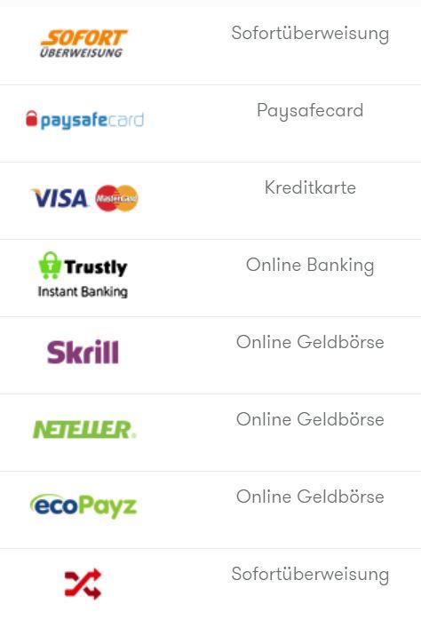 InterCasino Zahlungsmöglichkeiten